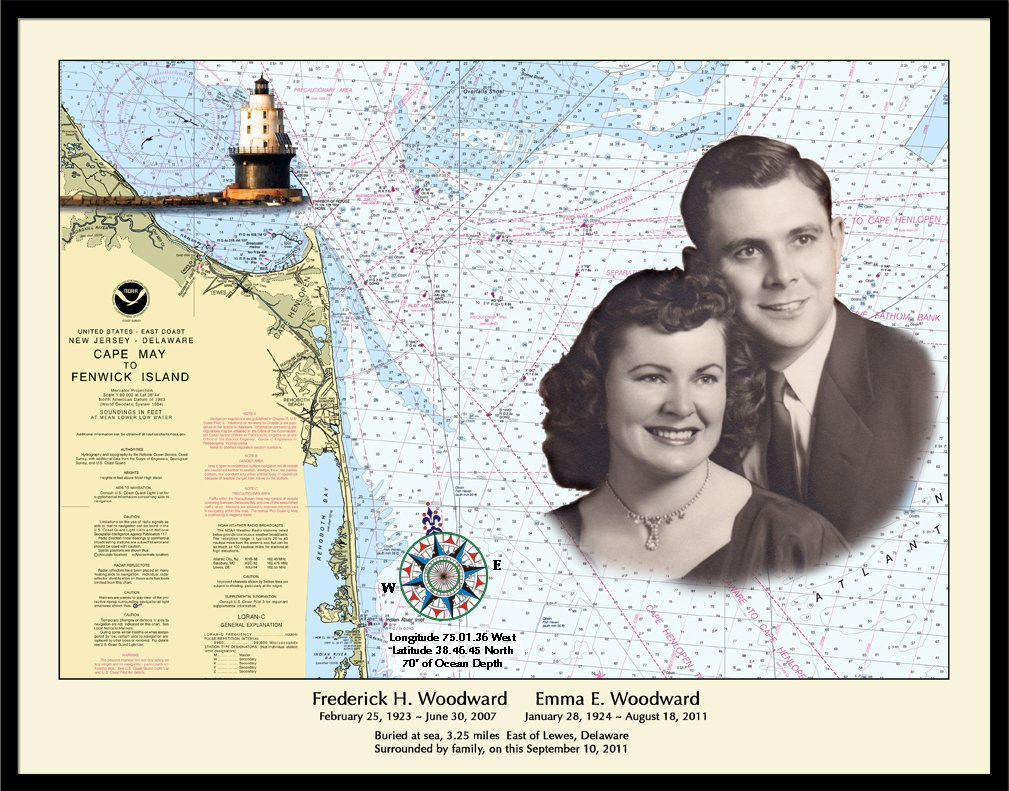 Compass Rose with Inlayed Photo Photo sample of the Nautical Memory chart
