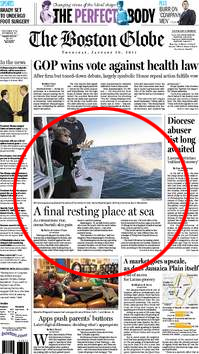 Ash Scattering At Sea Article in the Boston Globe