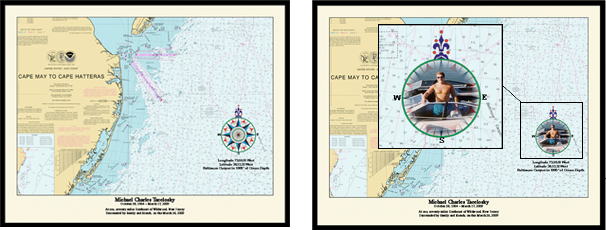 Nautical Memory Chart for Burial at Sea