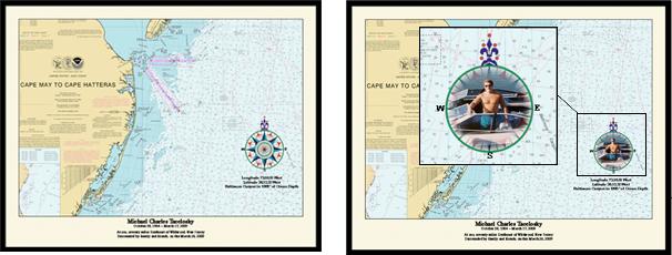 Nautical Memory Chart for Burial at Sea