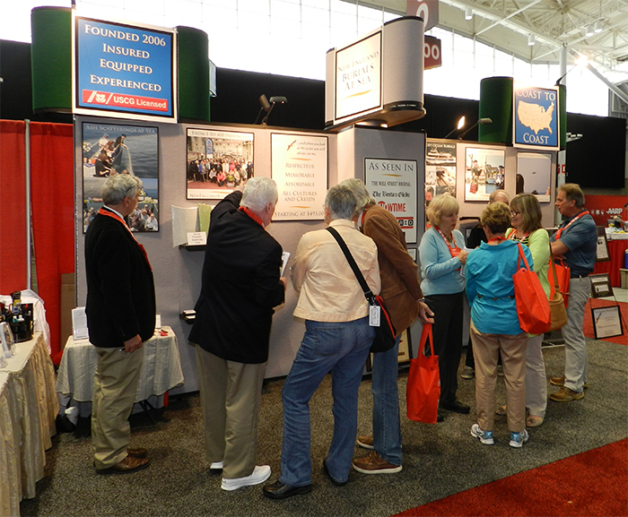 Trade show booth at AARP's May Boston Show
