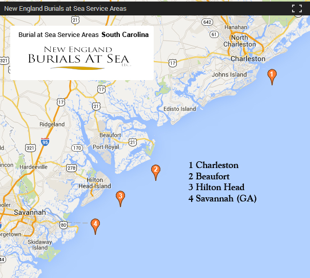 Savannah South Carolina Map.South Carolina Burials At Sea New England Burials At Sea